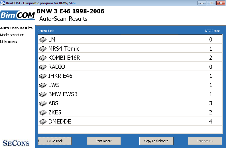 bimcom14: OBD-II diagnostic program screenshot