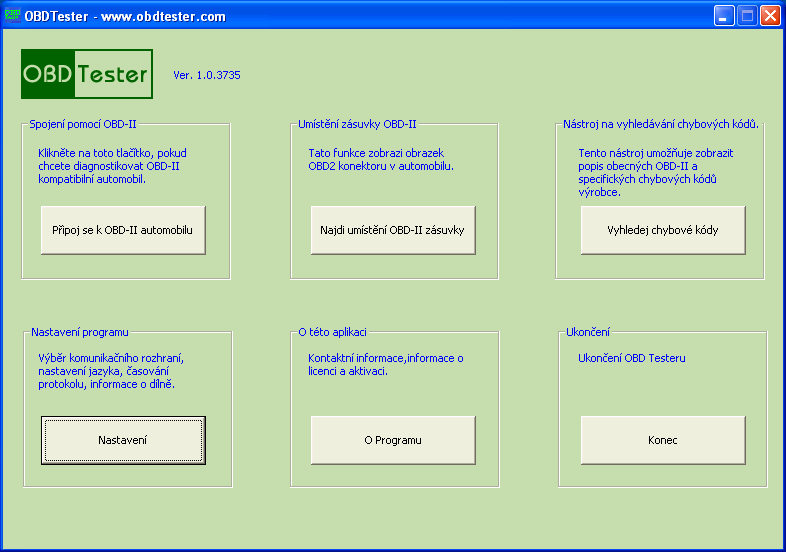 czobdtester1: OBD-II diagnostic program screenshot