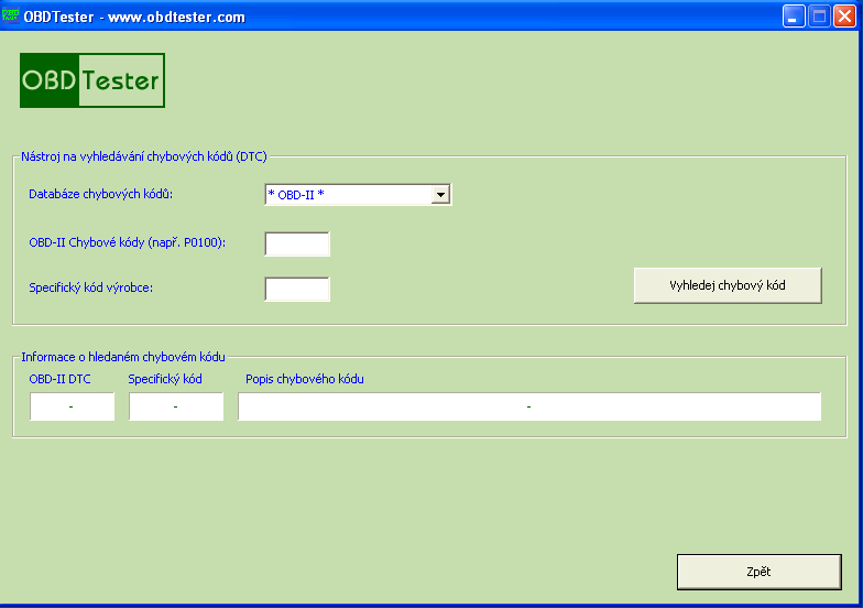 czobdtester12: OBD-II diagnostic program screenshot