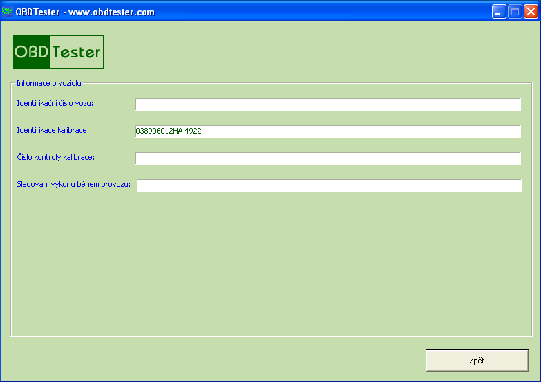 czobdtester5: OBD-II diagnostic program screenshot