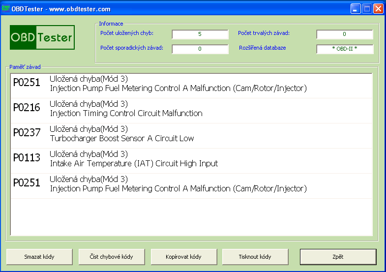 czobdtester7: OBD-II diagnostic program screenshot