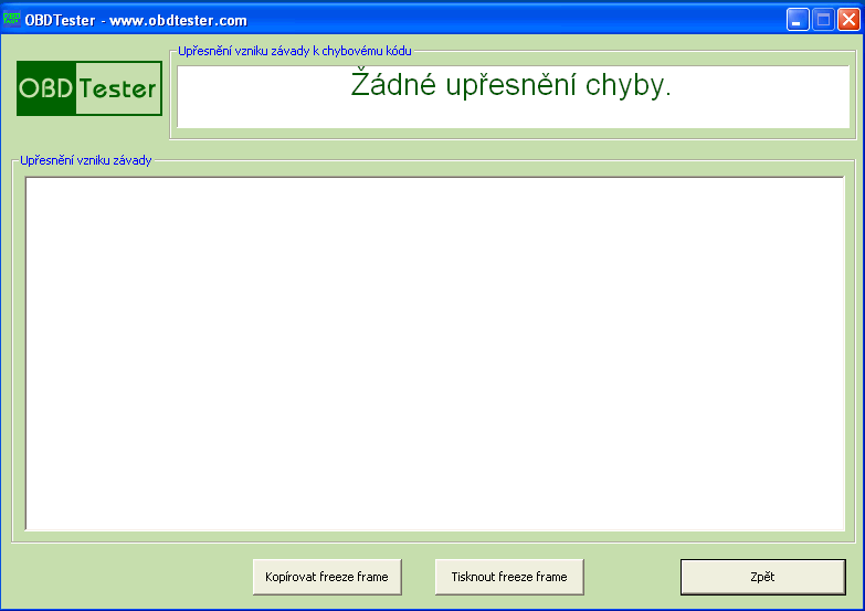 czobdtester8: OBD-II diagnostic program screenshot