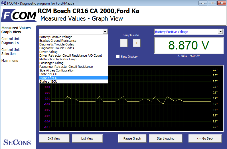 fcom06: OBD-II diagnostic program screenshot