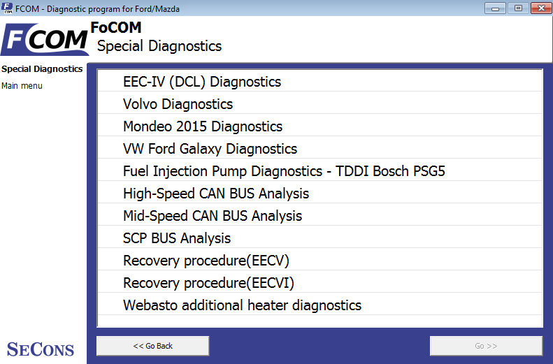fcom16: OBD-II diagnostic program screenshot