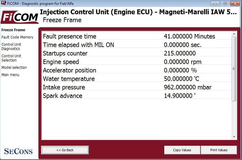ficom07: OBD-II diagnostic program screenshot