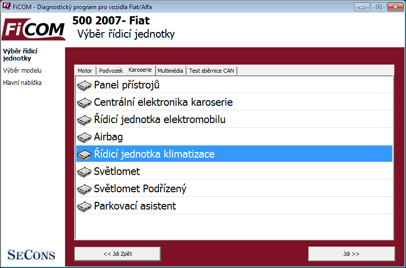 ficomcz03: OBD-II diagnostic program screenshot