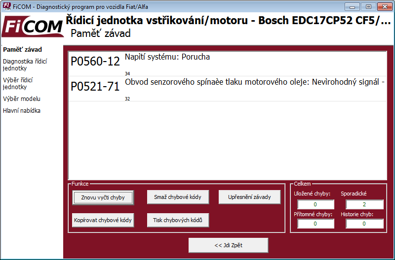 ficomcz06: OBD-II diagnostic program screenshot