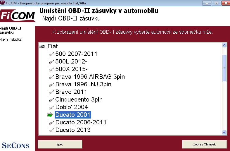 ficomcz15: OBD-II diagnostic program screenshot
