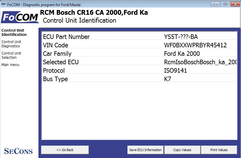 focom04: OBD-II diagnostic program screenshot
