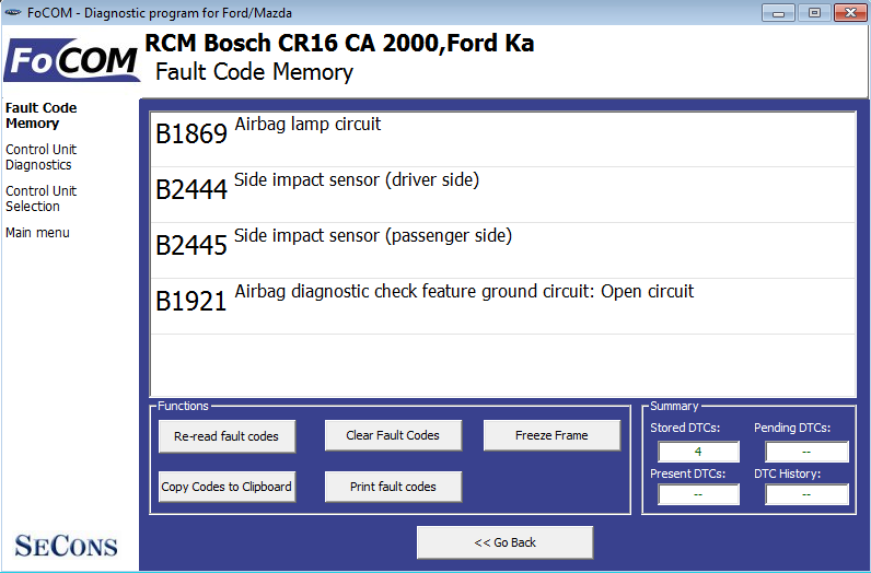 focom05: OBD-II diagnostic program screenshot