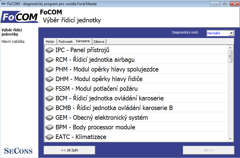 focomcz02: OBD-II diagnostic program screenshot