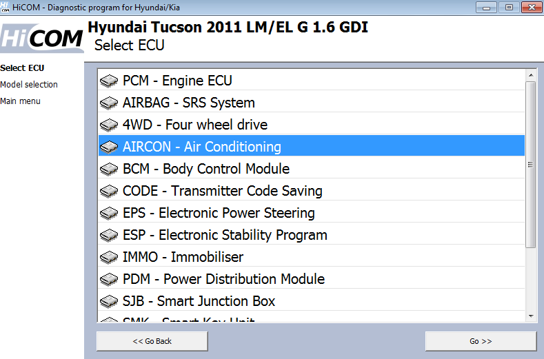 hicom03: OBD-II diagnostic program screenshot