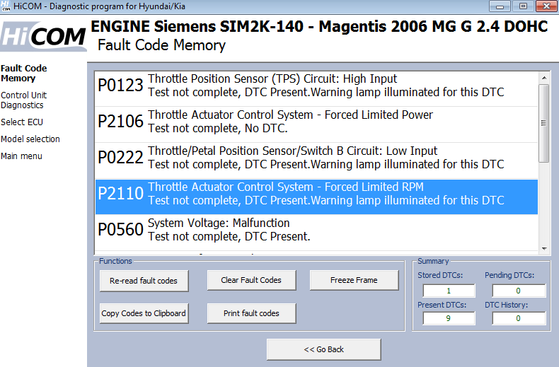 hicom06: OBD-II diagnostic program screenshot