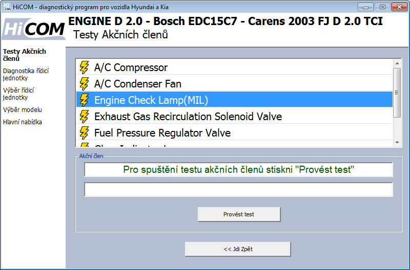 hicomcz11: OBD-II diagnostic program screenshot