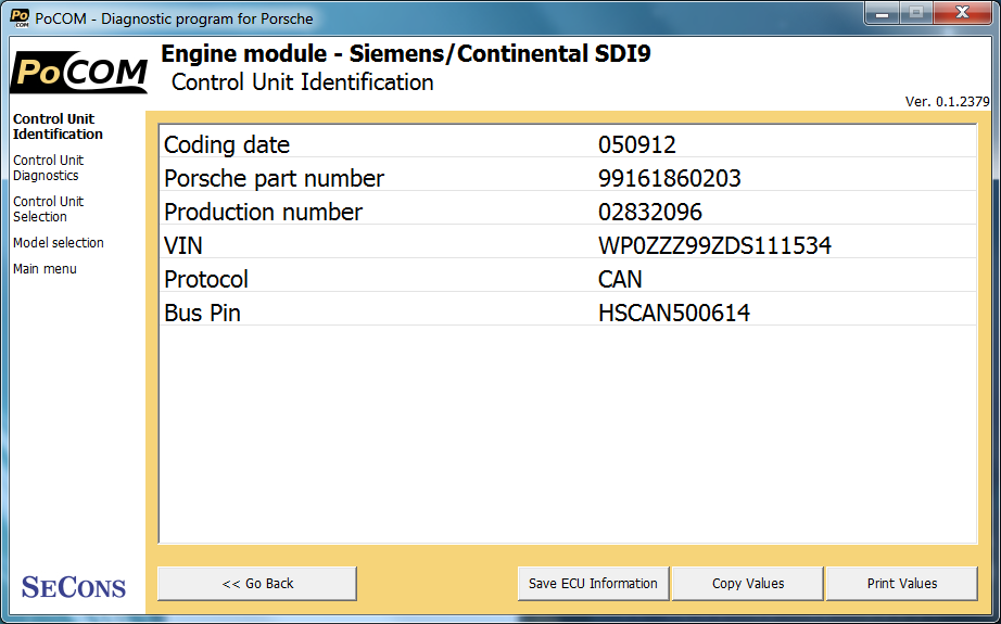 pocom05: OBD-II diagnostic program screenshot