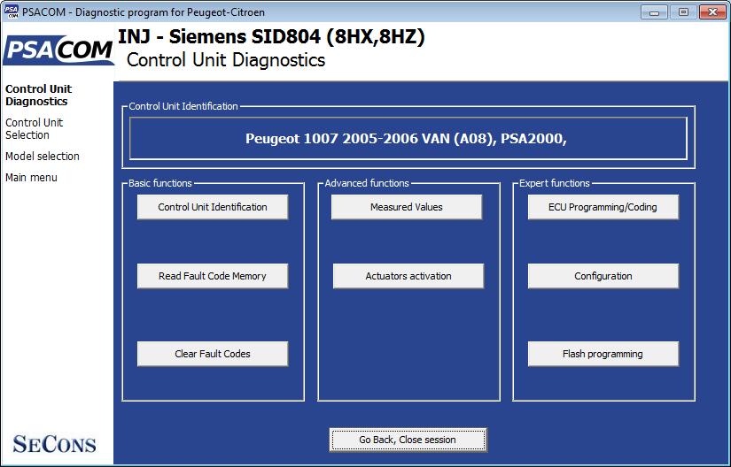 psacom04: OBD-II diagnostic program screenshot