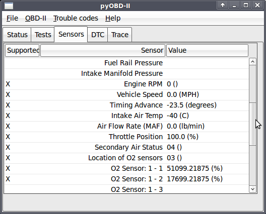 pyobd3: OBD-II diagnostic program screenshot