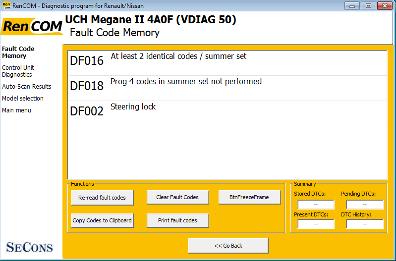 rencom06: OBD-II diagnostic program screenshot