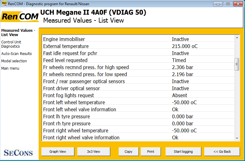 rencom10: OBD-II diagnostic program screenshot