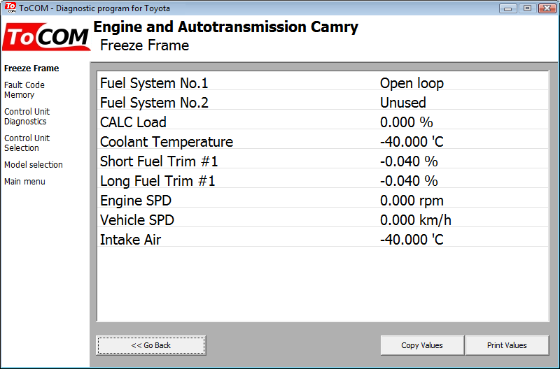 tocom07: OBD-II diagnostic program screenshot